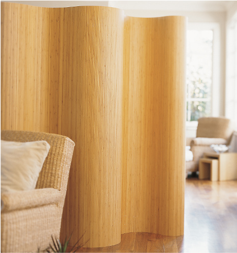 Rolling Bamboo Screen Room Divider