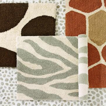 organic animal print bath mat