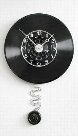 Stroke of Art Pendulum Wall Phone Dial Clock