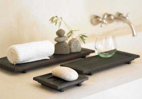 Hand carved spa trays for Decorative bathroom tray