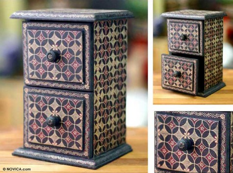 International Intrigue: Floral Mystery batik jewelry box  Your guide to stylish, eco-friendly decor!