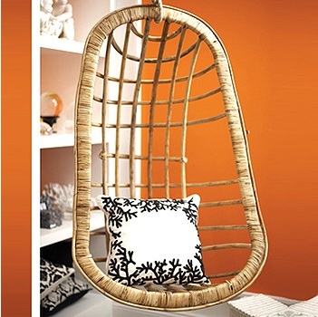 Great Place to Hang Out: Rattan Chair — Your guide to stylish, eco-friendly decor! :  chic green decorating chair hanging