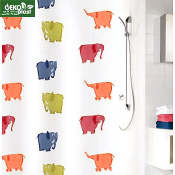 PEVA Elephants Shower Curtain