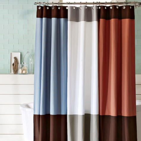 Shower In Contemporary Style Organic Color Block Curtain From West Elm