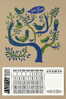 Birds in a Tree Letterpress 2009 Calendar