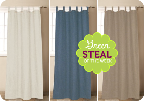 Green Steal of the Week: Eco Astor Recycled Cotton Tab Top Curtains