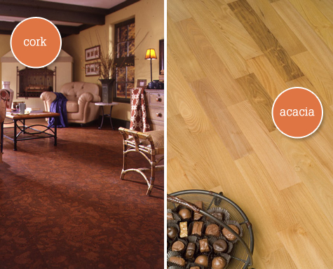 Cork and FSC-Certified Acacia hardwood flooring - $3.99 per square foot