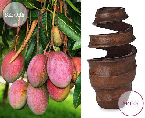 Beauty With A Twist Mango Wood Flowing Vase
