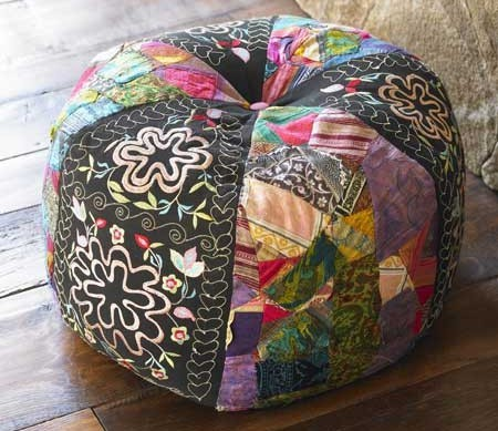 make it unexpected collage pouf from viva terra. Black Bedroom Furniture Sets. Home Design Ideas