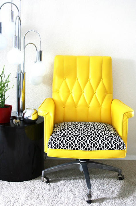 The {Almost} Perfect Seat for Me: Yellow Vintage Office Chair Thumbnail
