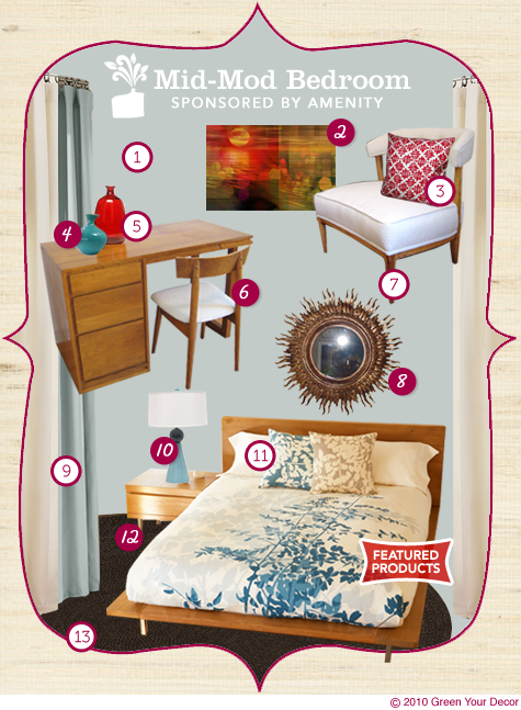 Green Room in a Box: Mid-Mod Bedroom (sponsored by Amenity) Thumbnail