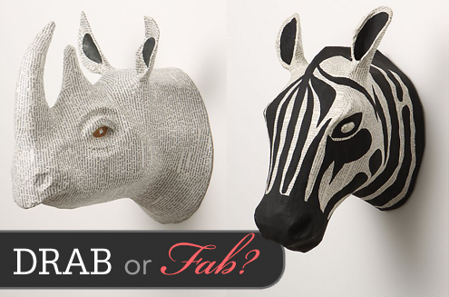 Drab or Fab: Recycled Papier Mache Rhino & Zebra Heads Thumbnail