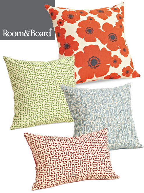 Pillows in mod green pod fabrics at room board looks for Room and board pillows