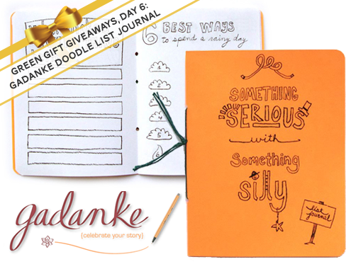 Green Gift Giveaway, Day 6: Recycled Doodle List Journal by Gadanke Thumbnail