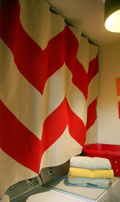 Post image for Tackling the Laundry Room: DIY Chevron Curtain Tutorial