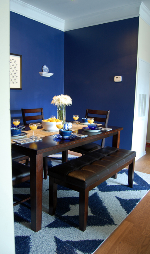 Before after our dining room is my new favorite room for Dining room navy blue