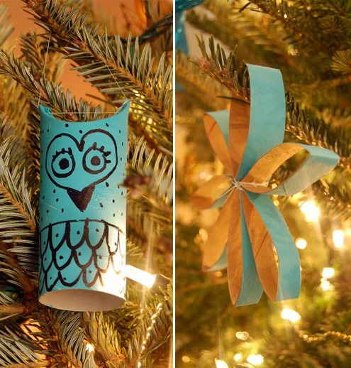 two styles of diy toilet paper roll christmas ornaments