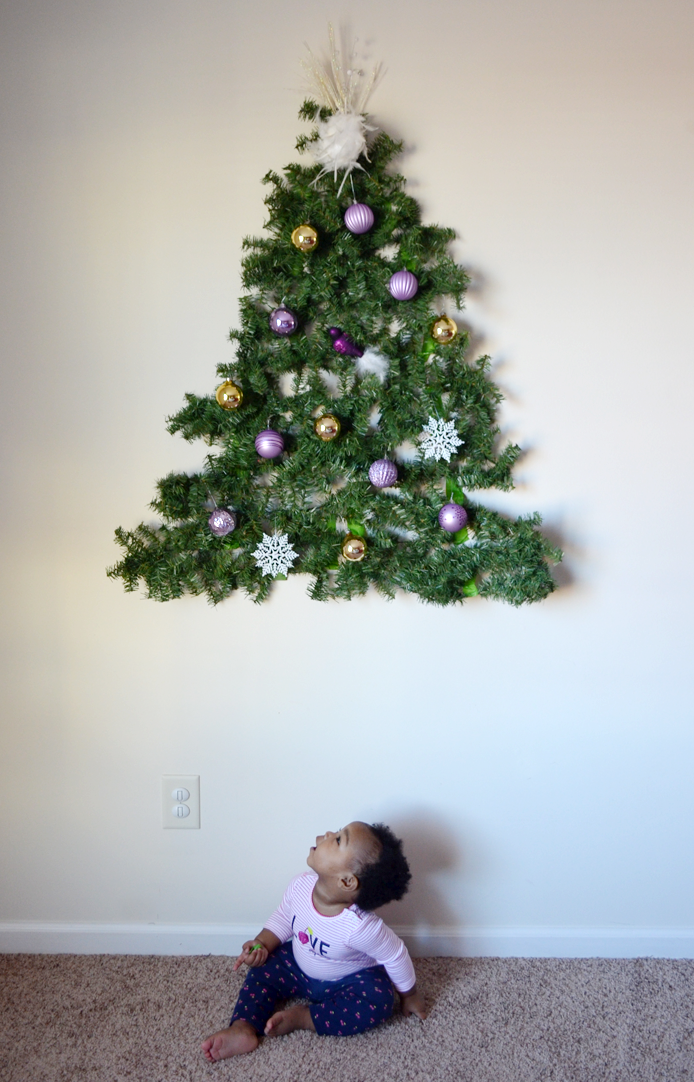 have a baby put a diy christmas tree on the wall - Child Proof Christmas Tree Decorations