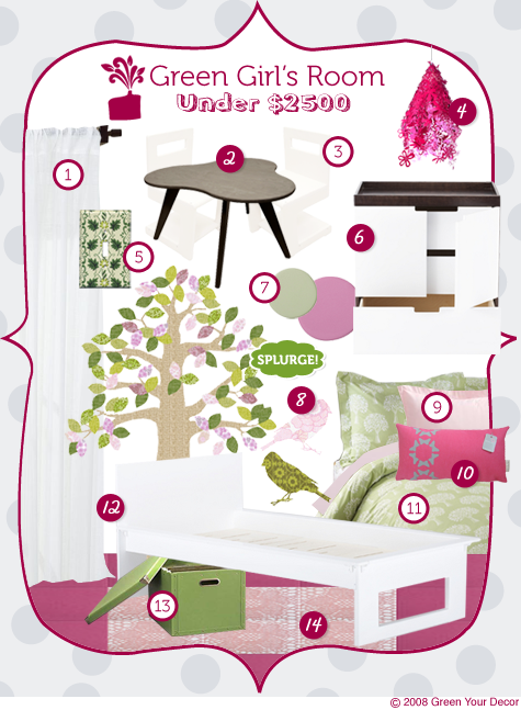 Green Rooms in a Box Series: A Fun, Funky Girl\'s Bedroom for Under $2500