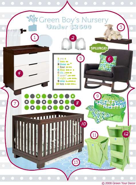 Green Rooms in a Box series: Modern Boy's Nursery Under $2500